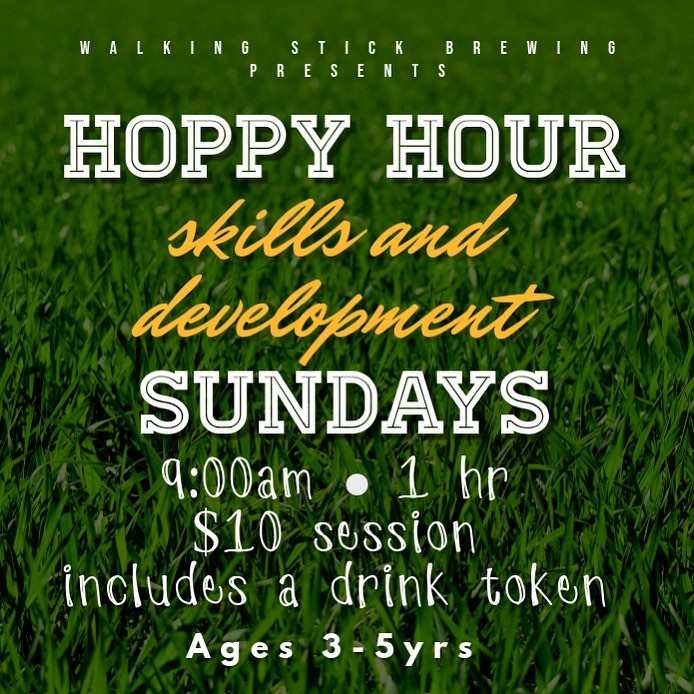 Coming Sunday 10/4!   We're excited to try out our Kids Hoppy Hour with Coach Bri on Sunday mornings, 9am at the Stick! *yoga to follow at 10:30am  Details: ⚽️$10 includes a drink token and popsicle ⚽️Athletic attire and tennis shoes or cleats preferred ⚽️3-5 yrs old ⚽️basic dribbling and skills ⚽️balls and equipment provided ⚽️6 players max per session, please email tiareaustin@walkingstickbrewing.com to reserve a spot  We hope this can be a super fun little addition for our families to enjoy!  ⚽️✌🏽🍻