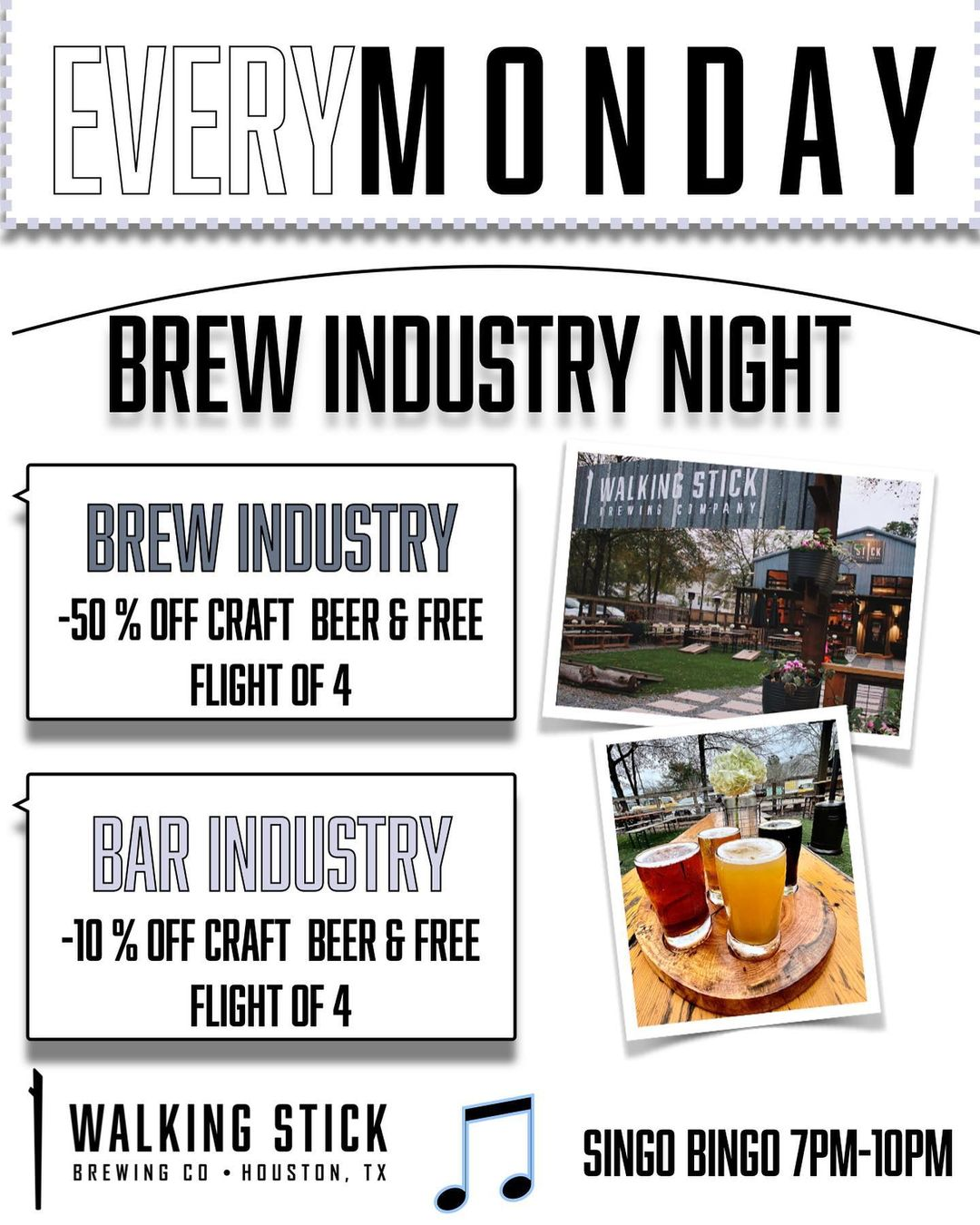 Check out our newest Monday night addition!   Did you know we are one of the few breweries to be open 7 days a week?!?   Well, we surely would hope to meet and mingle with some of our brewNdustry friends more often and welcome you every Monday night. Ask your server for details!   SINGO Bingo kicks off tonight with @timewellwastedtexas and @djbrockstar713 from 7-10pm every Monday night!   @pappaaldos will be offering a salad and pizza combo prize along with beers and swag from the Stick!  Can't wait to host you all! ✌🏽🍻😷
